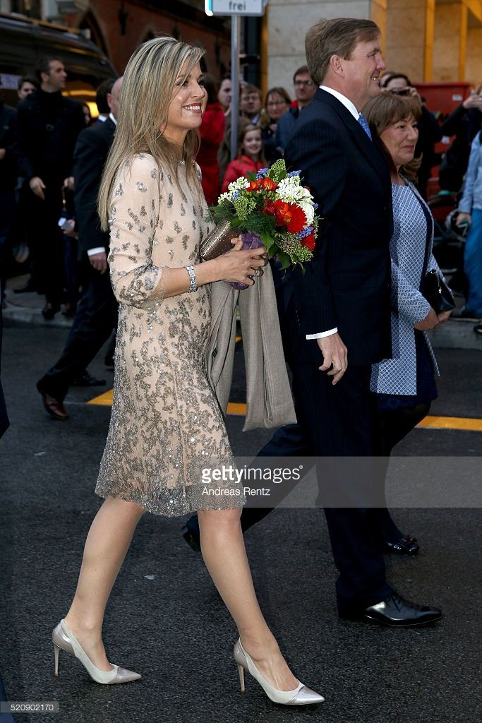 Queen Maxima of the Netherlands and King Willem-Alexander of the Netherlands cross the Marienplatz on April 13, 2016 in Munich, Germany. King Willem-Alexander and Queen Maxima are on a two-day visit in Bavaria to strengthen the relationship between Bavaria and the Netherlands.