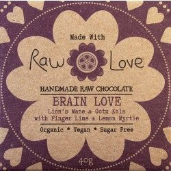 Raw Love Chocolate - Organic Cold Processed Raw Cacao Powder & Butter, Organic Erythritol, Organic Coconut Oil, Organic Lucuma, Wild Harvested Lion's Mane, Organic Gotu Kola, Wild Harvested Lemon Myrtle, WIld Harvested Finger Lime, Organic Luo Han Guo Extract & Sea Salt