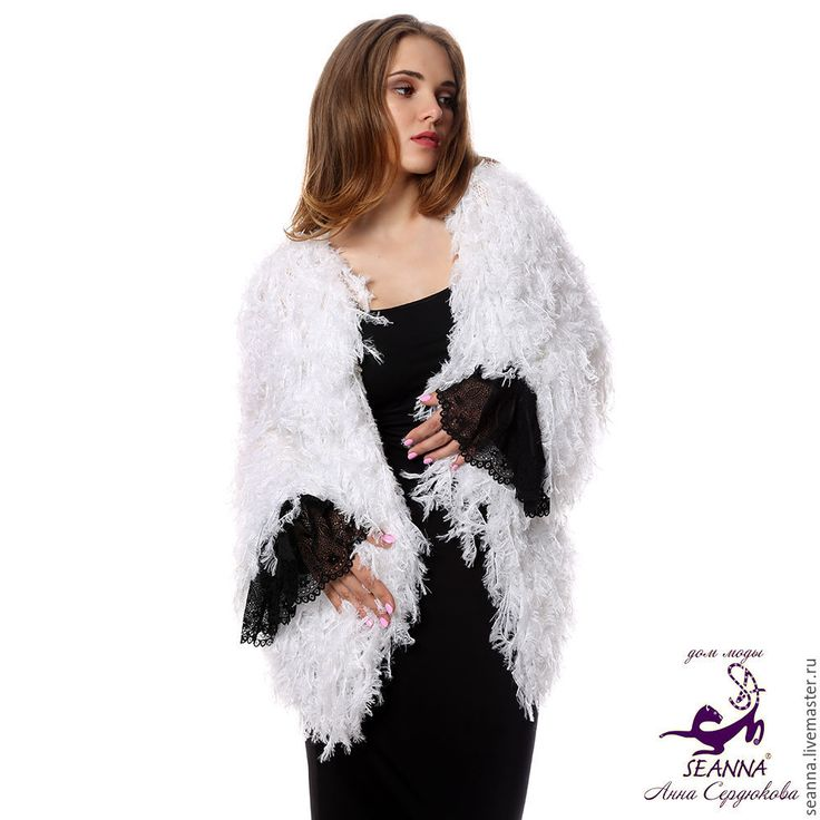 """Купить Шубка вязаная в авторской технике """"Белый Лебедь"""" безразмерная - купить пальто вязаное"""