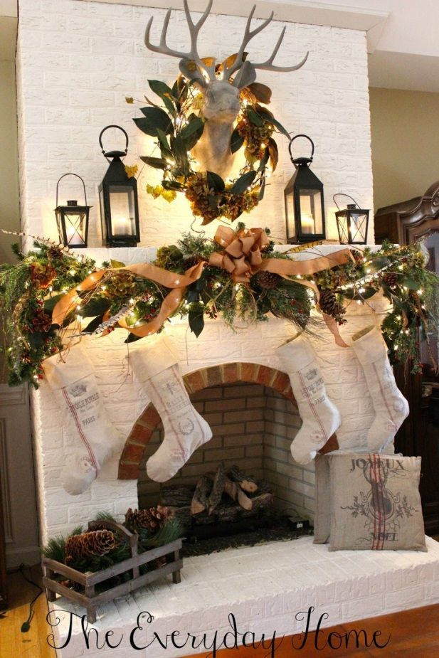 Nature Themed Christmas Mantel with Faux Deer Head, Lanterns, Pinecones and lighted garland