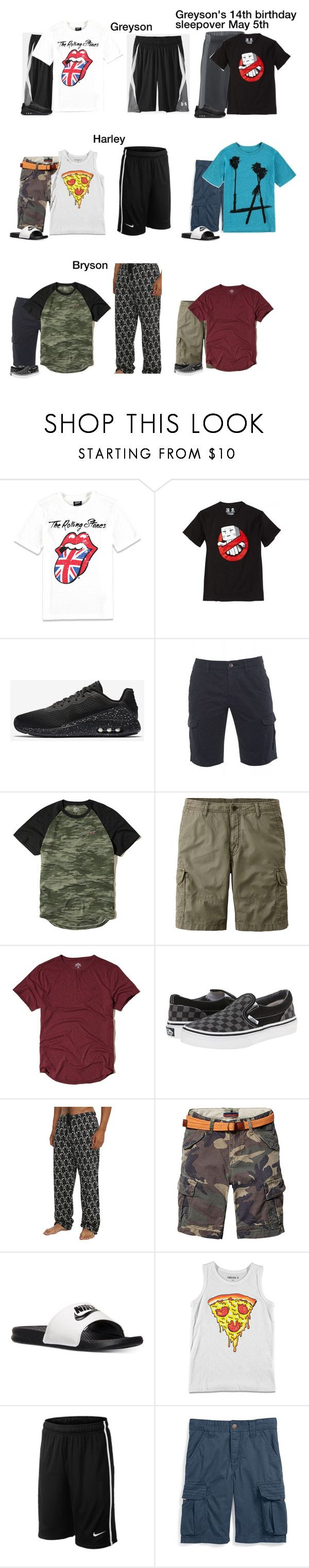 """""""-Stones/Hernandez's/Harleys"""" by our-poly-friends ❤ liked on Polyvore featuring Forever 21, NIKE, Minecraft, BOSS Orange, Hollister Co., Uniqlo, Vans, Disney, Scotch & Soda and men's fashion"""