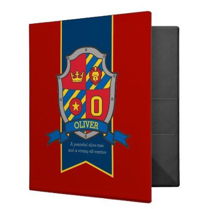 Oliver name meaning knight shield red blue 3 ring binder - boy gifts gift ideas diy unique