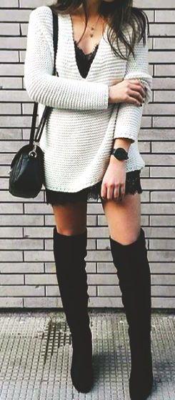 #fall #fashion / white knit + boots