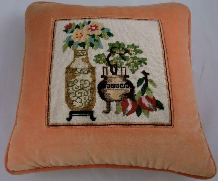 Needlepoint Pillow Decoration Perhaps Crossword : Vintage Needlepoint Pillow Zippered Orange Velvet Plant Floral Scene D & B Treasures Store ...
