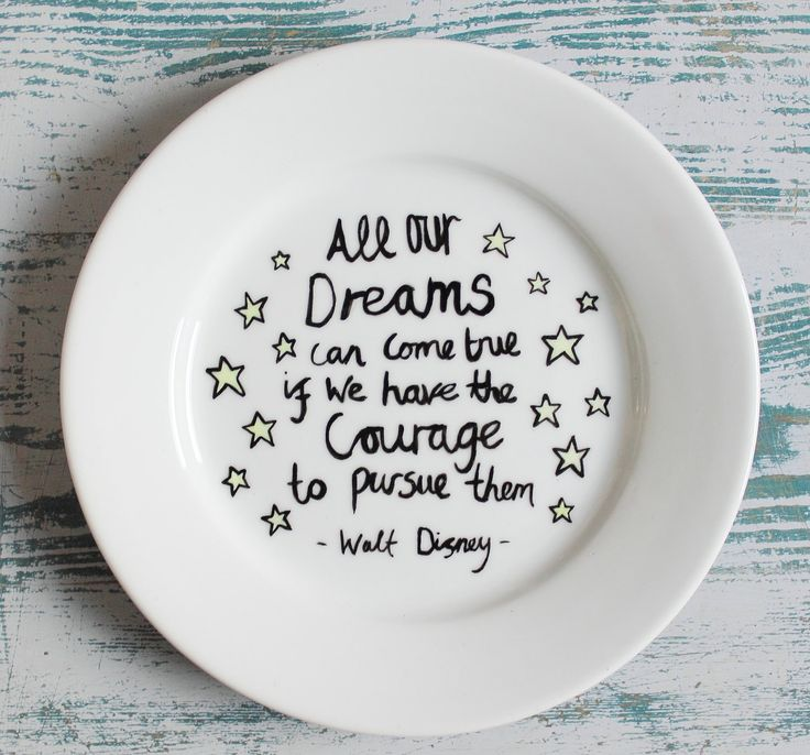 Hand Painted Side Plate With Inspirational Walt Disney