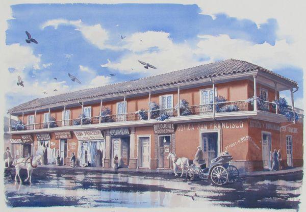 Acuarela. Casa Colonial. Santiago. Chile.