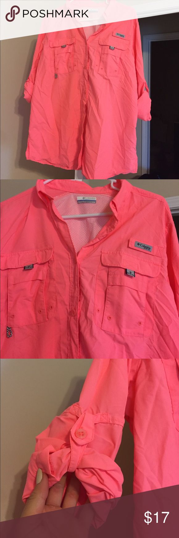 Men's Colombia PFG shirt Neon/bright orange PFG shirt, never been worn. Sleeves can be rolled down or up Columbia Shirts Casual Button Down Shirts