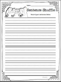 writing assignment sheet