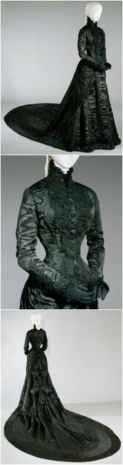 Empress Elisabeth of Austria's black court dress, by Fanni Scheiner, 1885, at the Kunsthistorisches Museum Wien. See: http://bilddatenbank.khm.at/viewArtefact?id=500136