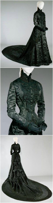 Empress Elisabeth of Austria's black court dress, by Fanni Scheiner, 1885, at the Kunsthistorisches Museum Wien. See: http://bilddatenbank.khm.at/viewArtefact?id=500136