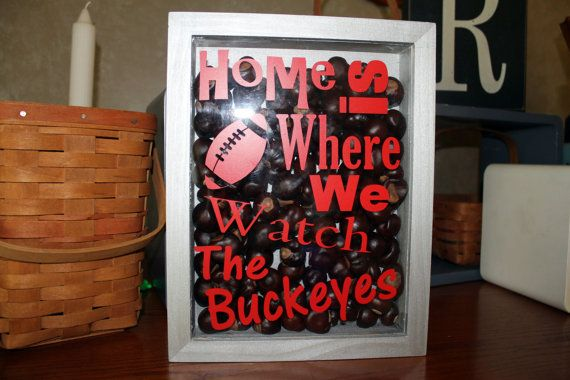 Home is Where We Watch The Buckeyes Shadow Box    This wooden box is painted silver and is filled with buckeyes! The front cover has the words