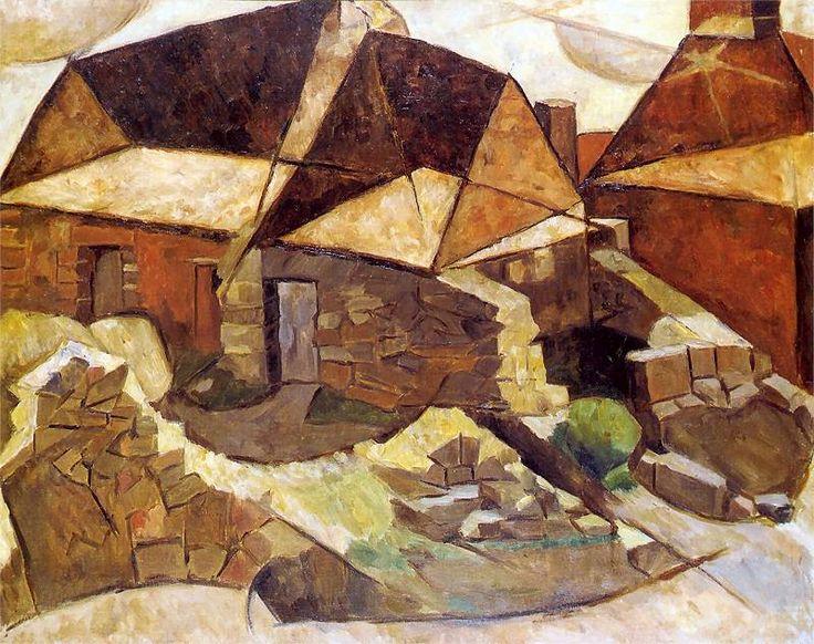 Pejzaż z domami. Olej na płótnie z 1913 roku.