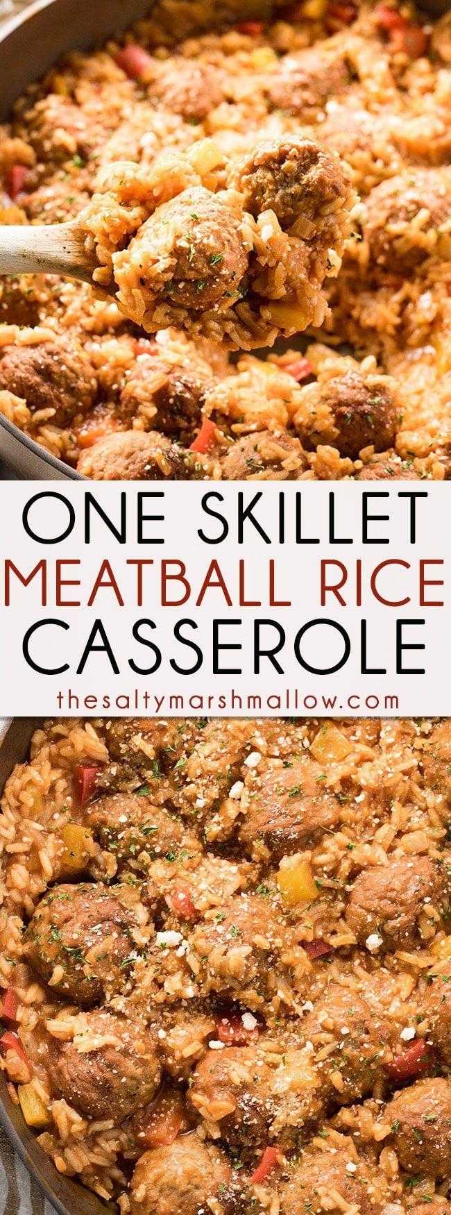 One Skillet Italian Meatballs and Rice Casserole