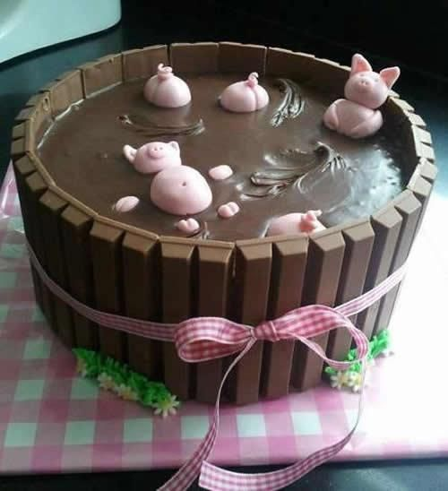 tarta cumpleaños barril cerditos Tarta de chocolate, barril de cerditos