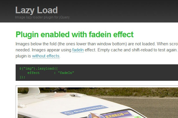 Lazy Load plugin for jQuery, load images only when they appear in the viewport of the browser.