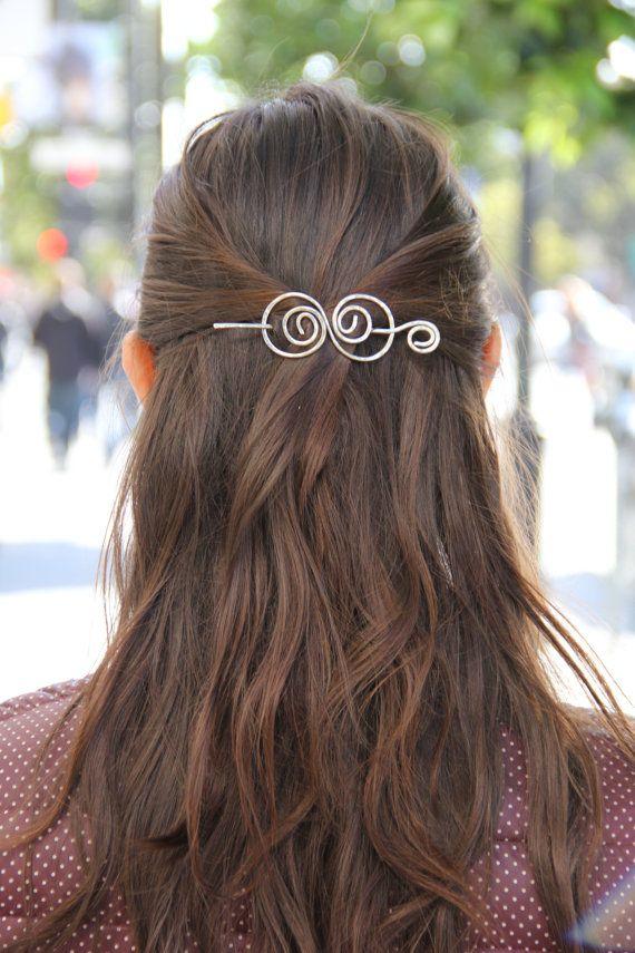 silver hair clip wire hair barrette spiral hair bow by Kapelika, $19.50
