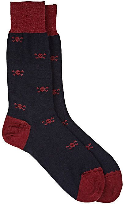 Barneys New York MEN'S SKULL-PRINT TROUSER SOCKS