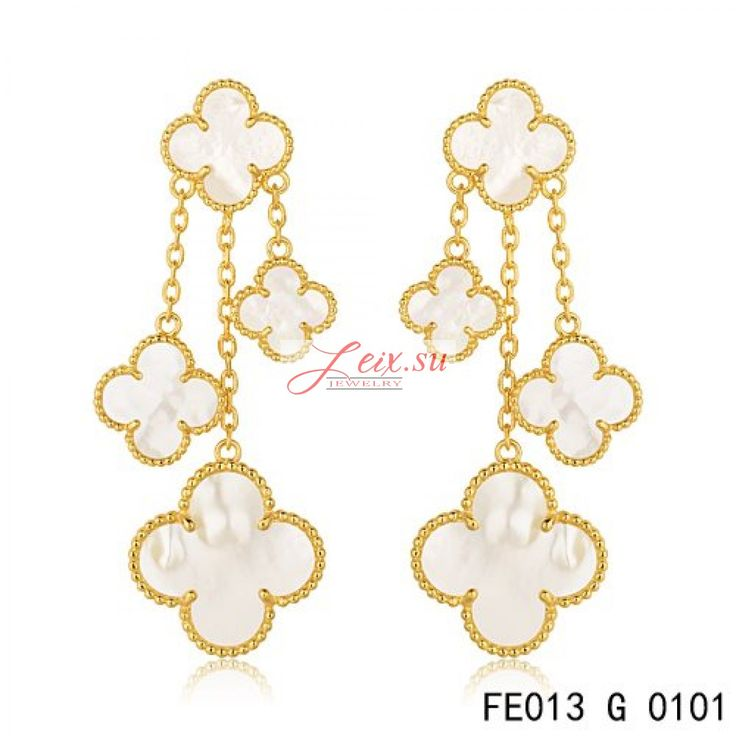 Van Cleef Arpels Replica Yellow Gold Magic Alhambra Earrings White Mother Of Pearl 4 Motifs
