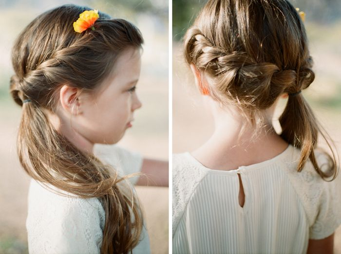 J Hairstyle: Flower Girl Hair Waterfall Braid