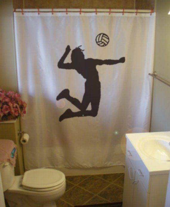 Cortinas De Baño Lavables:Spike Volleyball Shower Curtain