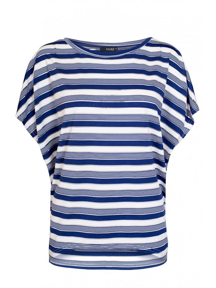 Navy And Cream Stripe Batwing Top