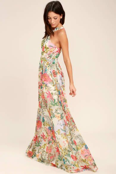 0adc66faf2 Lovely Mustard Yellow Floral Print Dress - Floral Maxi Dress