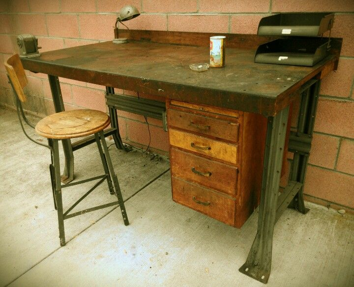 Vintage Industrial Desk Workbench Steampunk Industrial