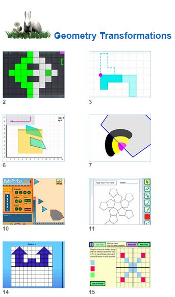 Math Geometry Transformations- Slides Turns and Reflection activities for kids and their teachers from Johnnie's Math Page