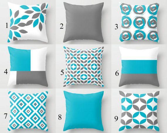 Throw Pillow Covers Scuba Blue White Grey Contemporary Decor