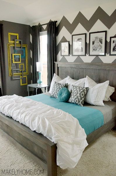 Bedroom Style - chevron & mint. Love!