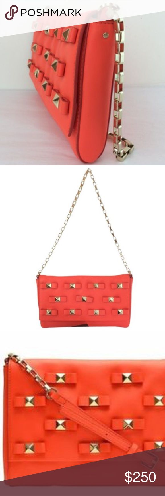 Kate Spade - New York Bow Terrace Leather bag New York Bow Terrace Felisha Leather Maraschino Red Orange Clutch. Like new with dust bag. kate spade Bags Mini Bags