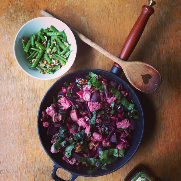 Sausage, Walnut and Beetroot Hash recipe from IQS cookbook and fried green beans flavored with fresh thyme and crushed almonds.   Lots of homegrown veggies and all the main ingredients are organic.