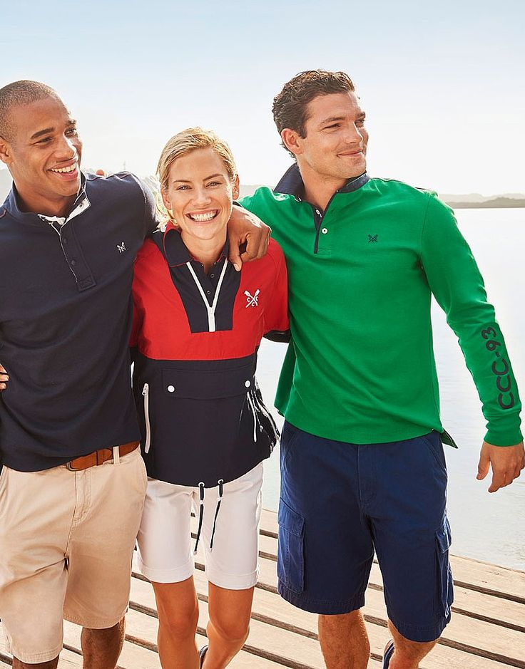 Men's Crew Club Aldeburgh Long Sleeve Rugby in Jolly Green from Crew Clothing