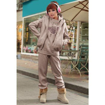 Modern Style Hoodies Long Sleeves Letter Printed Three Piece Casual Cotton Blend Fleece Women's Sports Suit, GRAY, XL in Sweatshirts & Hoodies | DressLily.com-- cute but comfy