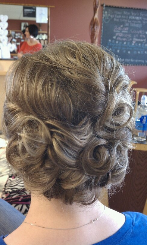vintage inspired bridal updo.  Prom. Wedding. Bridal. Formal.  No extentions added.  Hair is very fine with fine/medium fullness.