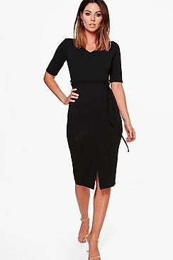 Tamara Tie Waist V-Neck Midi Dress