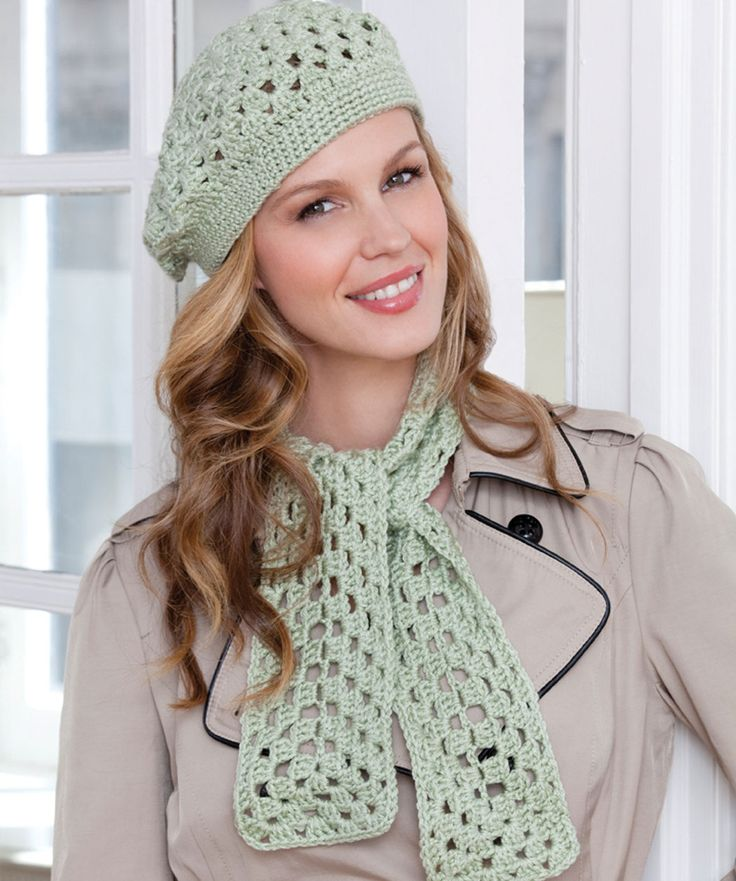 First Beret & Scarf Crochet Pattern If you know how to do chains and double crochets you can crochet this easy scarf and beret. Use this pattern to teach others to crochet or for making quick gifts that will be loved.