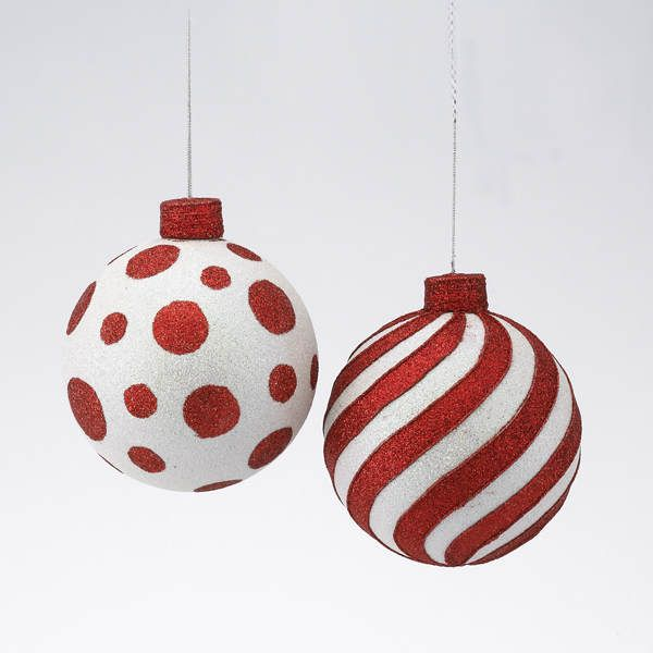 Polka Dot Striped Ball Ornament Item 100765 The Christmas Mouse Red Christmas Ornaments Whimsical Christmas Trees Christmas Mouse