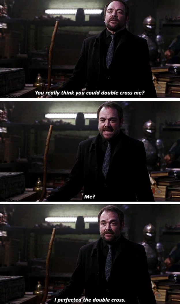 11x15 Beyond The Mat [gifset] - You really think you could double cross me? - Crowley; Supernatural