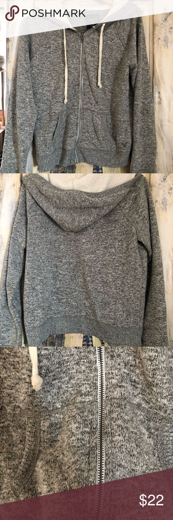 American Eagle zip up hoodie American Eagle Soft, neutral zip up hoodie  with a fleece lined hood. A great Christmas gift for a teen. Size large but a smaller large. American Eagle Outfitters Sweaters