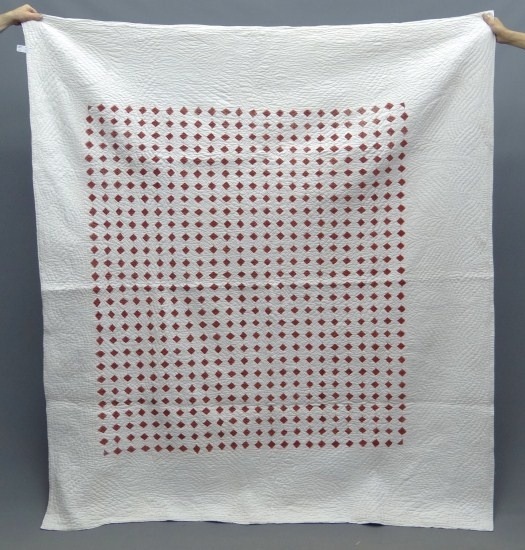 """C. 1900 English red and white squares. 80"""" Square."""