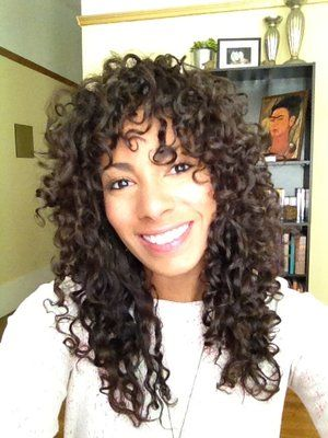 curly hair, soft layers with bangs