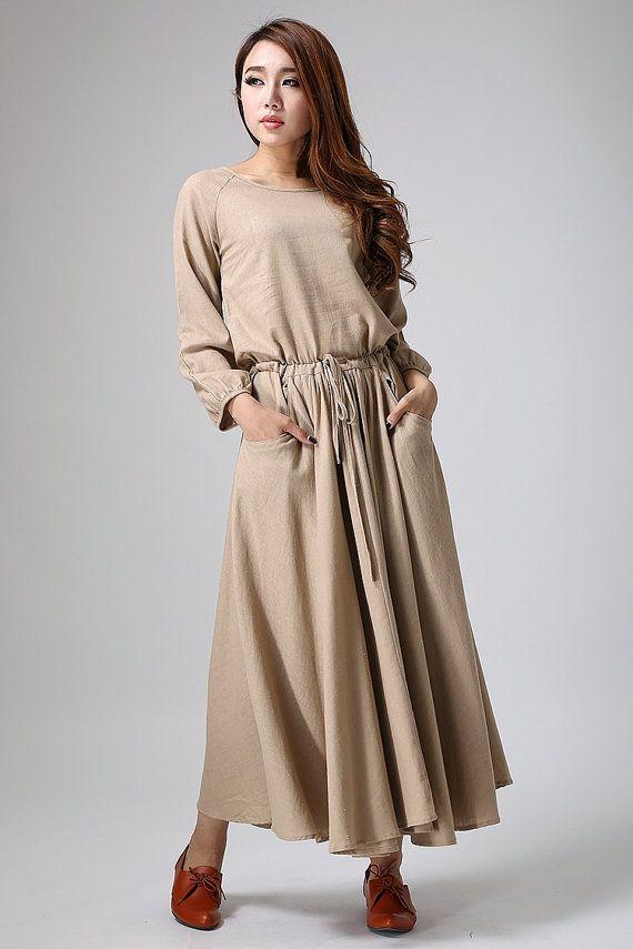 Brown maxi dress  casual long linen dress  long raglan by xiaolizi