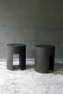 blaxsand - hand carved gambelina stool with charcoal finish