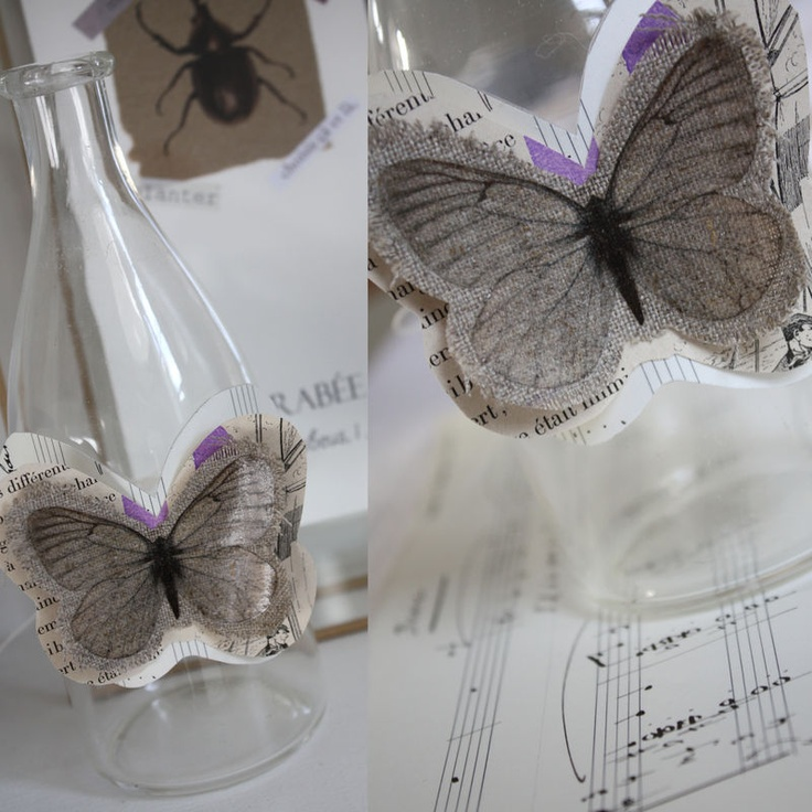 papillon tissu lin tampon + vieux papier