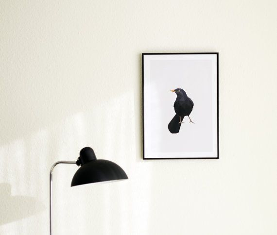 Blackbird poster A4 A3 by NORDSTER on Etsy