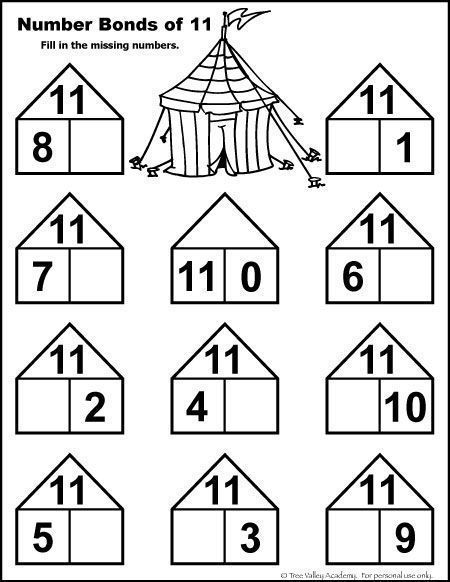 Number Bonds to 11 Free Math Worksheets (With images