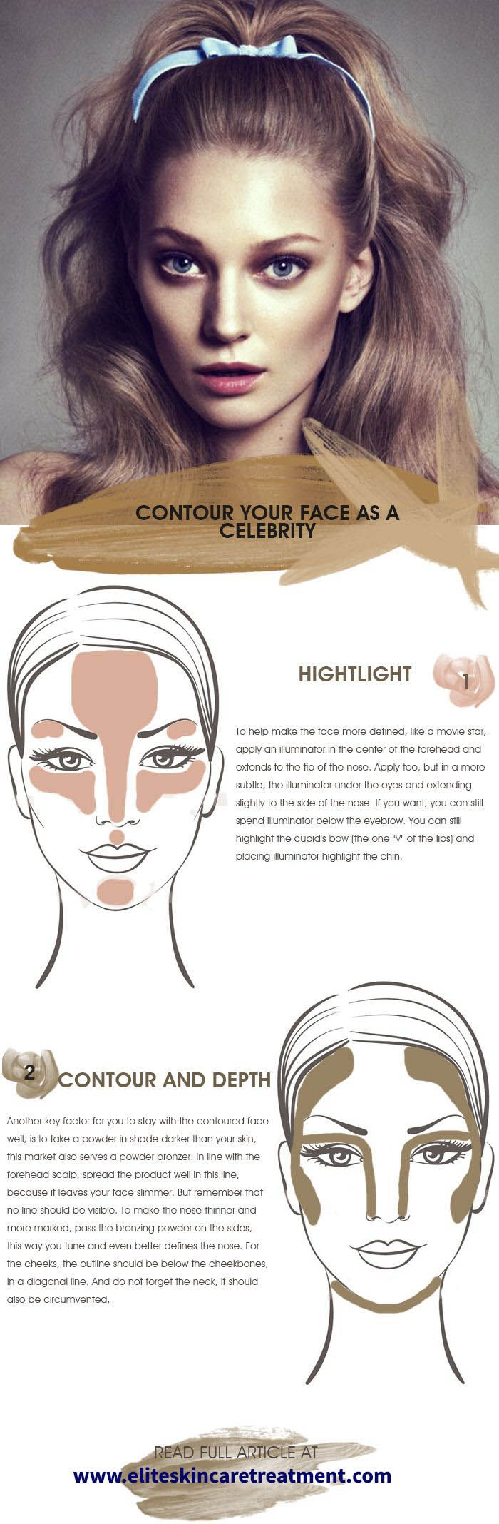 How to contour the face like a celebrity - The face contour is widely used by celebrities to highlight strengths and minimize weaknesses. It is simply the act of using light and dark colors in makeup to define the points of the face. READ MORE: http://www.eliteskincaretreatment.com/how-to-contour-the-face/