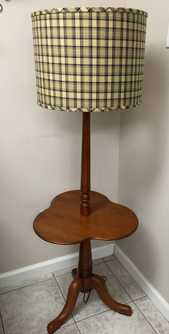 Tell City Clover Leaf Maple Table Floor Lamp Mid Century