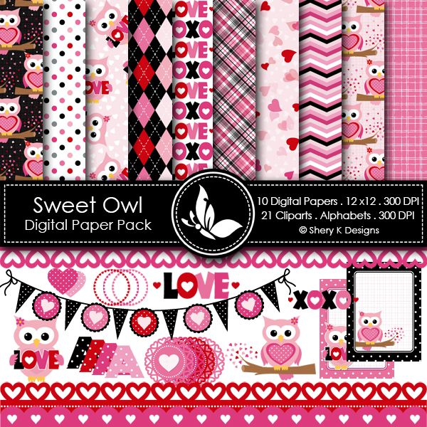 Sweet Owl - 10 printable High Quality Digital papers + 21 cliparts + 8 Alphabet sets. check it in the link below. http://www.sherykdesigns.com/shop/all-products/sweet-owl/prod_290.html